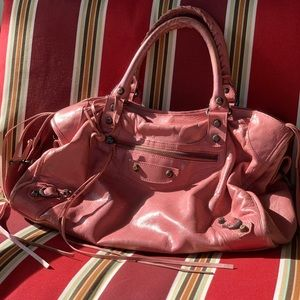 Pink Balenciaga city bag